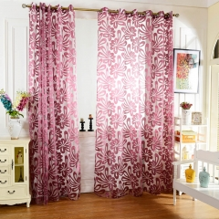 100 x 250cm European Flower Printed Tulle Window Curtains for Living Room Bedroom purple 100*250cm