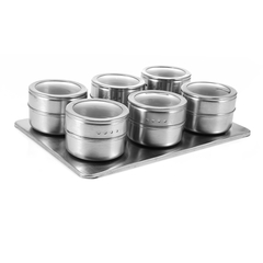 6pcs Stainless Steel Magnetic Seasoning Pot silver 6pcs