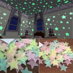 100pcs 3D Stars Glow In The Dark Wall Stickers Luminous Fluorescent For Bedroom Ceiling Home Decor mixed 100pcs