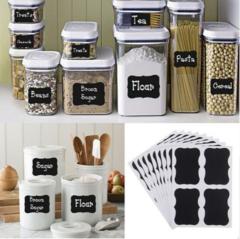 Lebuy 36pcs Fancy Black Board Kitchen Jam Jar Label Labels Stickers. 5cm x 3.5cm Decor Chalkboard Black 36Pcs
