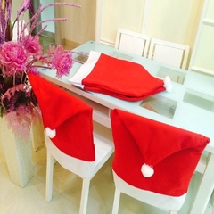 Hort Santa Claus Hat Chair Covers Christmas Dinner Table Party Red 60*50cm