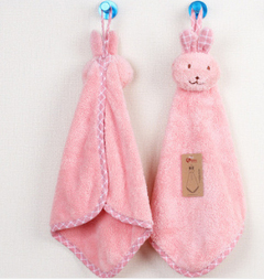 Baby Hand Towel Cartoon Animal Rabbit Plush Kitchen Soft Hanging Bath Wipe Towel Pink As picture