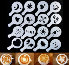 16Pcs Coffee Latte Cappuccino Barista Art Stencils Cake Duster Coffee Tools Nespresso as pictures normal