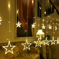 Twinkle 12 Stars LED Curtain String Window Curtain Lights for Christmas White 2.5M
