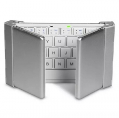 Folding Bluetooth  Flat Universal Keyboard With Three Keyboard For Smartphone, Tablet PC Silver