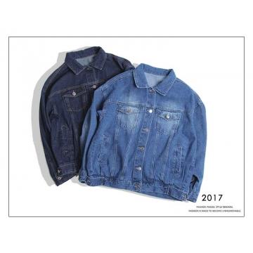 Fashion  Lapel WomanCasual Denim Jacket blue one size