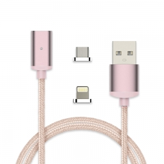 Metal Head Magnetic cable 8 Pin & Micro USB to USB Data Sync Charging Cable for iPhone / android gold android
