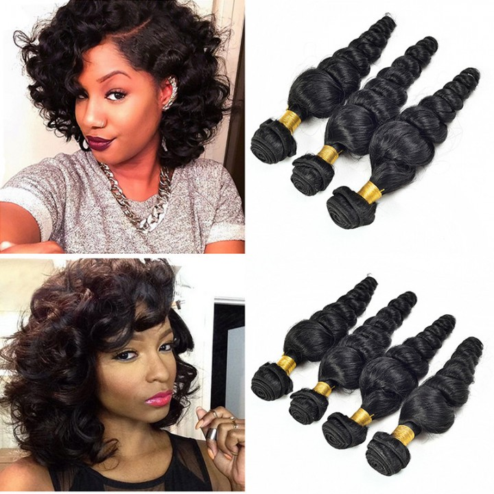 1 bundle 100% virgin Human Hair Wigs Loose Wave Human Hair Weft Natural Black Curly  Hair Extension black 8inch