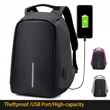 Fashion Men Multifunction USB Charging Laptop Backpacks For Teenager Anti-theft  School Bag black one size