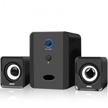 Mini wired Portable combination speaker Column computer speaker 2.1 USB channels for PC Balck D201
