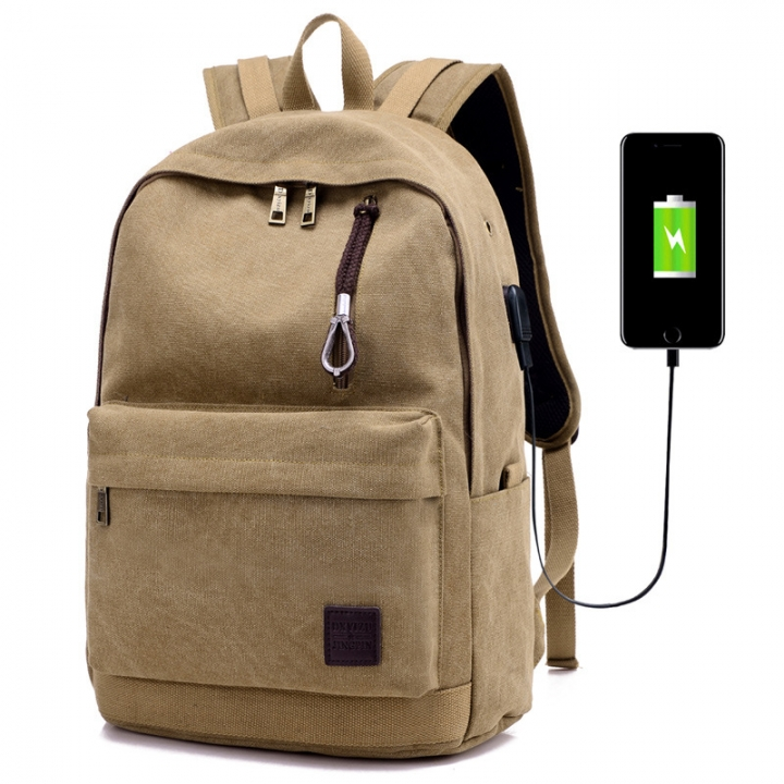 External USB Charge Waterproof Canvas Backpack Laptop Backpack College  Student Bag for Teenagers khaki one size 66879c6414ab0