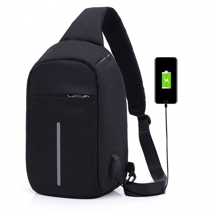 Casual Anti-Theft Sling Bags Chest Bag Pack School Crossbody Travel Daypack black one size