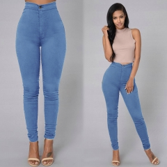 Sexy Women Skinny Stretch Denim Slim High Waist Trousers Leggings Jeans Pants Blue S