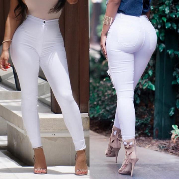 640d8924e3b Sexy Women Skinny Stretch Denim Slim High Waist Trousers Leggings Jeans  Pants White 2XL