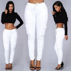 Fashion Women Pencil Stretch Casual Denim Skinny Jeans Pants High Waist Trousers white m