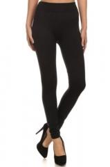 Women's Fleece Lined Leggings Thick Solid High Waist Warm Winter Long Footless black s/m/l