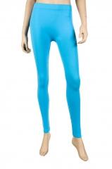 Womens Basic Solid Leggings Stretch Pants New Long Full Length aqua blue one size