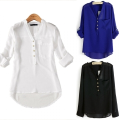 Women's Lady Loose Long Sleeve Chiffon Casual Blouse Shirt Tops Fashion Blouse black xl