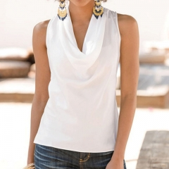 Fashion Women Summer Vest Top Sleeveless Blouse Casual Tank Tops T-Shirt Blouse white s