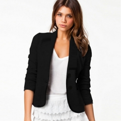 2017 Fashion Women Long Sleeve Button Casual Blazer Suit Jacket Coat Outwear Tops black m