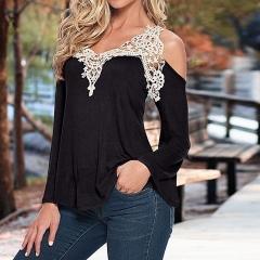 New Fashion Women Long Sleeve Shirt Casual Lace Blouse Loose Tops T-Shirt black s