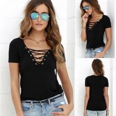Women Loose Short Sleeve Cotton Casual Blouse Shirt Tops Fashion Summer T-shirt black s