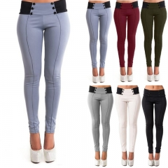 Fashion Women Casual Stretch Skinny Leggings Pencil Pants Slim Trousers New grey m