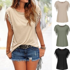 New Fashion Women Summer Loose Top Shirt Short Sleeve Blouse Casual Tops T-Shirt coffee 2xl