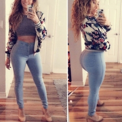 New Women's Slim High Waisted Skinny Pencil Stretch Pants Trousers Leggings light blue s