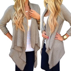 Women Long Sleeve Knitted Cardigan Loose Sweater Outwear Jacket Coat Sweater Top khaki s
