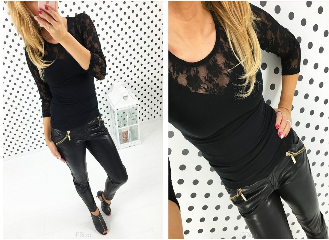 3 Design Plus Size Slim Fitness Women Tops New Sexy Long Sleeve Floral Lace  T-shirt black m