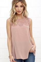 Summer Women t shirts Chiffon Lace Sleeveless girl Shirt Solid Casual Tops hollow out Round neck pink 2xl