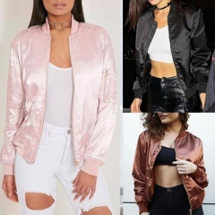 Women Ladies Classic Casual Bomber Jacket Vintage Zip Up Biker Outwear pink m