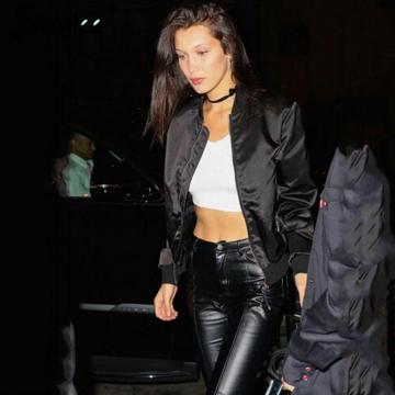 Women Ladies Classic Casual Bomber Jacket Vintage Zip Up Biker Outwear black l