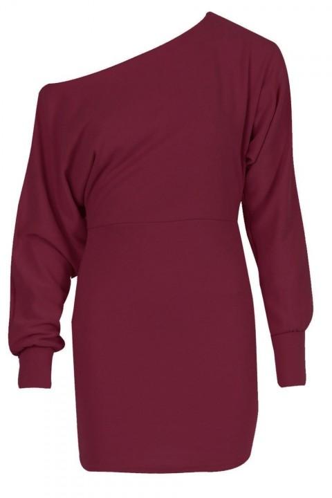 8a033531022 Ladies Off Shoulder Ponte Long Sleeve Cuffed Batwing Mini Dress Top Jumper  Celeb wine red m