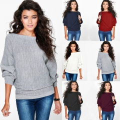 Women Loose Knitted Batwing Sleeve Jumper Sweater Ladies Casual Knitwear Tops wine red s