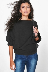 Women Loose Knitted Batwing Sleeve Jumper Sweater Ladies Casual Knitwear Tops black s