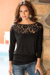 Women Lace Stitching Chiffon Tops Loose Type Slash neck Shirts Solid Three Quarter Sleeve Blouse black s