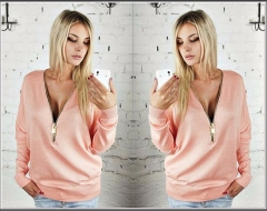 Deep V Zipper Collar Bat Long Sleeve For Female Casual Thin Coat Women New Style Autumn Hoodies pink s