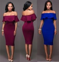 New Fashion Women's Strapless Sexy Bodycon Dress Slash Neck Party Dress s blue