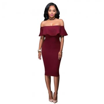 New Fashion Women's Strapless Sexy Bodycon Dress Slash Neck Party Dress wine red s