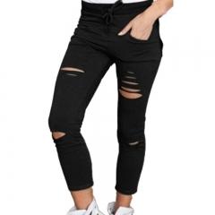 Women Hole leggings Ripped Pants Slim Stretch Drawstring Trousers Pants Army Green Tights Pants black m