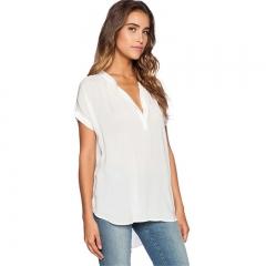 Women Sexy V Neck Chiffon Blouse Ladies Summer Short Sleeve Slim T Shirt Leisure Bodycon Tops white s
