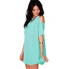 Women Fashion Sexy Chiffon Blouse T-shirt Tops Casual Shirt Off shoulder Blusas 7 Colors sky blue s