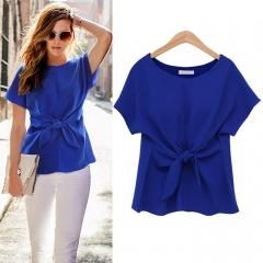 2017 New Korean Fashion Women's Loose Chiffon Tops Short Sleeve Shirt Casual Blouse blue l