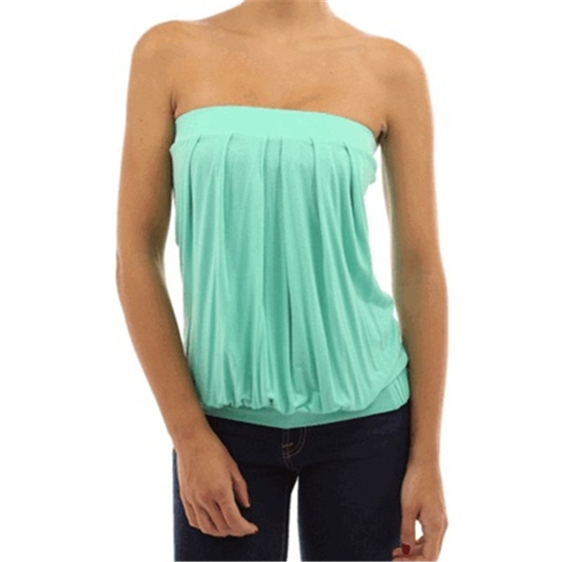 121abca56b Womens Sleeveless Strapless Tube Tops Bandeau Stretch Ribbed ...