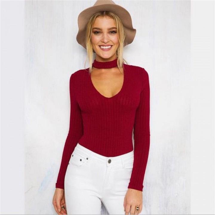 bc9fb11f36cd New Women V Neck Long Sleeve Bodycon Bandage Bodysuit Jumpsuit Slim Short  Romper wine red m