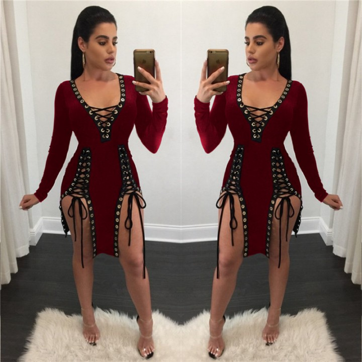 Women Bandage Bodycon Long Sleeve Evening Party Cocktail Club Short Mini  Dress red xxl becfd6cde