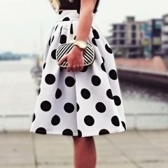 2017 New Vintage Women Stretch High Waist Plain Skater Flared Pleated Long Skirt Dress off white s