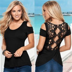 Fashion Women Sexy Summer Short Sleeve Lace Blouse Casual Tops T-Shirt Blouse black s